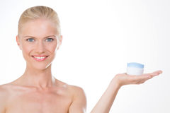 Nordic girl with anti age cream Royalty Free Stock Image