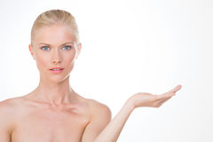 Nordic girl with one hand up Royalty Free Stock Image
