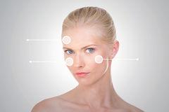 Nordic girl with three indicators on her face Stock Photo