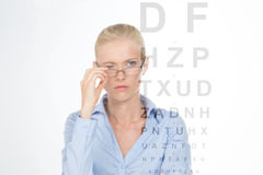 Nordic girl to the optician Stock Photography