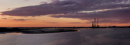 Nordic harbor. A panorama of the harbor of Esbjerg, Denmark Stock Photos