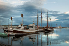Nordic Harbour in Iceland. Husavik harbour, north iceland, at the end of summer day Royalty Free Stock Image