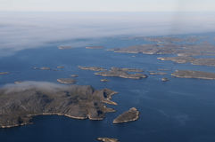 Nordic islands. Aerial view of Greenland islands Stock Image
