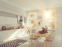 Nordic kitchen in an apartment. 3D rendering. thanksgiving concept. Cozy nordic kitchen in an apartment. thanksgiving and fall concept. 3D rendering Stock Images