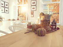 Nordic kitchen in an apartment. 3D rendering. thanksgiving concept. Royalty Free Stock Photos