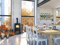 Nordic kitchen in an apartment. 3D rendering. thanksgiving concept. stock photos