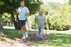 Nordic maduro dos pares que anda no parque Fotografia de Stock Royalty Free