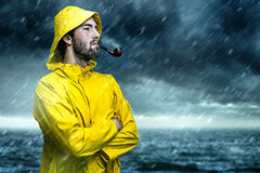 Nordic Man. Standing in the rain Stock Images