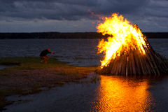 Nordic Midsummer Party Balefire Stock Photos