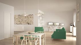 Nordic minimalist living room open space with dining table, sofa, corner office, home workplace with computers, contemporary moder. N white and green interior stock photos