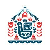 Nordic ornaments, folk art pattern. stock illustration