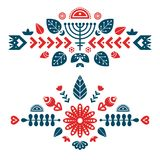 Nordic ornaments, folk art pattern. Two decorative composition. stock illustration