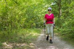 Nordic que anda na floresta Fotografia de Stock Royalty Free