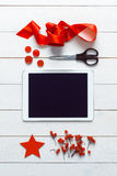 nordic retro christmas, wrapping station, desk view from above, online shopping concept Stock Images