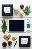 Nordic retro christmas, wrapping station, desk view from above, online shopping concept Stock Photography