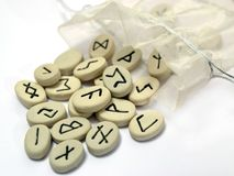 Nordic runes wtih small bag Stock Images