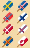 Nordic, Scandinavian countries flags ice cream royalty free illustration