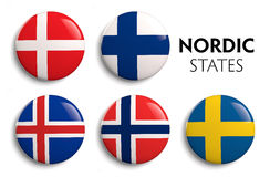 Nordic Scandinavian Flags Stock Photography