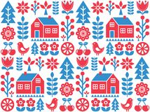 Nordic, Scandinavian inspired folk art seamless pattern - Finnish  design in blue and red. Vector wallpaper background with flowers, Finnish house, rural scenery Stock Image