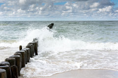 Nordic sea with white waves. And wooden polls Stock Photography