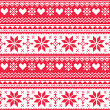Nordic seamless knitted Christmas red heart pattern Royalty Free Stock Photography