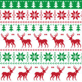 Nordic seamless pattern with deer and christmas tree Stock Photos