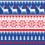 Nordic seamless pattern with deer and christmas trees Royalty Free Stock Images