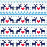 Nordic seamless pattern with deer and hearts Royalty Free Stock Photography