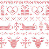 Nordic seamless stitched  christmas pattern with santas sleigh, reindeer, snowflakes and stars Stock Photography