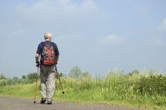 Nordic Senior. Senior man doing a Nordic Walk in the sun royalty free stock images