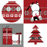 Nordic set of round, presents, snowman and spruce. Vector illustration of nordic set of round, presents, snowman and spruce Royalty Free Stock Images