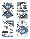 Nordic Skiing Emblem Design Set Royalty Free Stock Photography