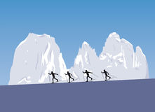 Nordic skiing in the mountains Royalty Free Stock Photos