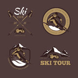 Nordic skiing vector emblems, labels, badges, logos set Stock Photo