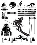 Nordic Skiing Vintage Elements Stock Photography