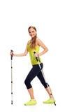 Nordic smiling walking woman Stock Photo