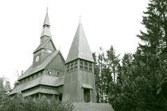 Nordic stave church Stock Image