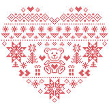 Nordic style Christmas pattern in heart shape with bear on white background. Heart Shape Scandinavian Printed Textile  style and inspired by  Norwegian Christmas Stock Photos