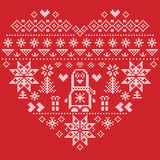 Nordic style Christmas pattern in heart shape with penguin on red background Stock Photography