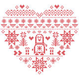 Nordic style Christmas pattern in heart shape with penguin on white background Stock Photography