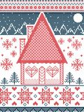 Nordic style and inspired by Scandinavian  Christmas pattern and craft in cross stitch in red, blue, white  with gingerbread house Royalty Free Stock Image