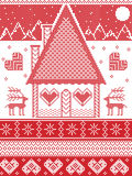 Nordic style, inspired by Scandinavian Christmas pattern illustration in cross stitch, gingerbread house, reindeer. Nordic style, inspired by Scandinavian Royalty Free Stock Photography