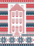 Nordic style and inspired by Scandinavian Christmas pattern illustration in cross stitch with gingerbread house Royalty Free Stock Photos