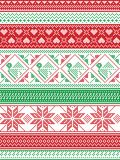 Nordic style and inspired by Scandinavian Christmas pattern illustration in cross stitch in red and white, green including Robin. Snowflake, heart, stars, and Stock Photo