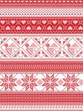 Nordic style and inspired by Scandinavian Christmas pattern illustration in cross stitch, in red and white including Robin. Snowflake, heart, stars, and Royalty Free Stock Photography