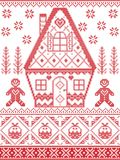 Nordic style and inspired by Scandinavian cross stitch craft Christmas pattern in red , white including heart, gingerbread house Stock Photography