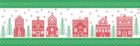 Nordic style and inspired by Scandinavian cross stitch craft merry Christmas pattern in red , white. green with winter wonderland. Nordic style and inspired by royalty free illustration