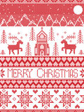 Nordic style and inspired by Scandinavian cross stitch craft merry Christmas pattern in red and white including winter wonderland. Nordic style and inspired by Royalty Free Stock Photography