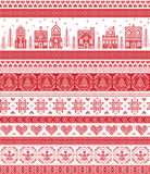Nordic style and inspired by Scandinavian cross stitch craft merry Christmas pattern in red and white including  winter wonderland. Village, church, Christmas Stock Photography