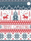 Nordic style Merry Christmas pattern in red and white including  winter wonderland village, church, xmas trees, mountains, stars. Snowflakes, reindeer in blue Stock Photo